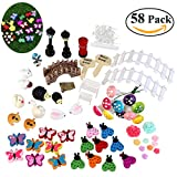 BESTOMZ 58 pcs Miniature Fairy Garden Ornament Dollhouse DIY Kit Décor