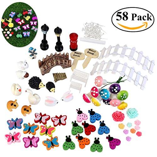 BESTOMZ Fata Giardino Ornamento Miniature Fairy Garden, 58 pezzi