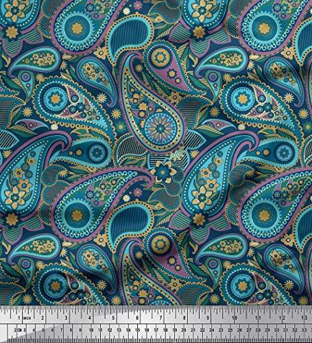 Soimoi Lila Baumwoll-Voile Stoff Blumen & Paisley Stoff Meterware 42 Zoll breit - Voile Paisley