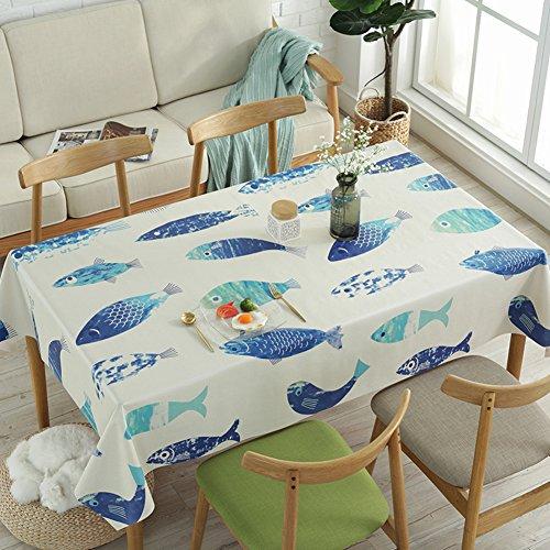 HM&DX PVC Kunststoff Tischdecken Rechteck Wasserdicht Ölfreie Abwaschbar Schmutzabweisend Tabelle cover tuch protektor für kaffee garten esstisch-Fisch 100x138cm(39x54inch)