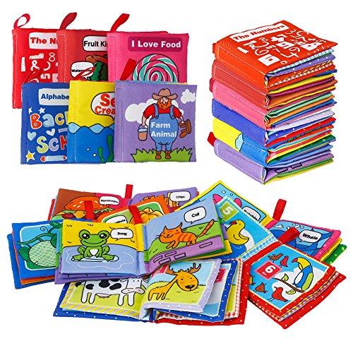 Acekid Baby Tuch Bücher, 6 Stück weiche Bilderbücher für Kleinkinder, waschbar Stoff Bücher für Jungen und Mädchen, Idee für frühe Bildung