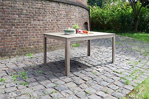 """Ribelli Ribelli® Gartentisch """"Hawaii"""" aus Holz - Esstisch grau für Garten, Terrasse & Balkon - Holztisch rechteckig aus Akazie massiv - Tisch wetterfest für draußen"""
