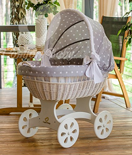 Preisvergleich Produktbild ComfortBaby ® HOME XXL Baby Stubenwagen - komplette 'all inclusive' Ausstattung - Zertifiziert & Sicher (Weiss - GrauStern)