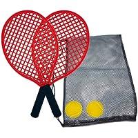 Juego de Tenis de Playa, 2 Raquetas, 2 Pelotas de Softball, en un Bolsillo de Malla Resellable