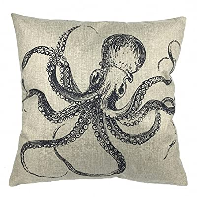 "Luxbon Ocean Coastal Beach Nautical Dancing Octopus Fish Decorative Cushion Cover Durable Cotton Linen Sofa Throw Pillow Case 18""X18"" 45x45cm produced by Luxbon - quick delivery from UK."
