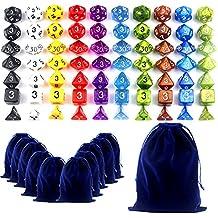 Goodlucky365 70 Dados Poliédricos-Serie Completa de 7 Dados en 10 Colores-70 Dados en 10 Pequeñas Bolsas de Dados-Grande Bolsa de Terciopelo Gratis Para Juego de Mesa Dungeons and Dragons Dado