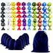 Goodlucky365 70 Polyhedral Dice - Complete Sets Of Seven Dice In 10 Colors - 70 Dice in 10 Little Dice Bags - FREE Large Velvet Dice Bag for Dungeons and Dragons Dice