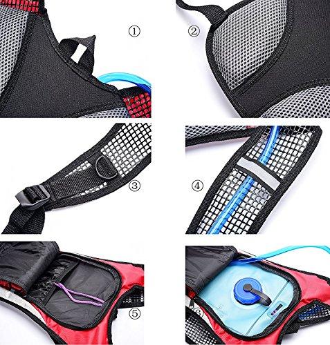 Hydratation Rucksack,Addfun®Wasser-Rucksack Blasentasche mit Frei 2L Wasser Blasé zum Laufen, Wandern,Radfahren,und Andere Draussen Sport Orange