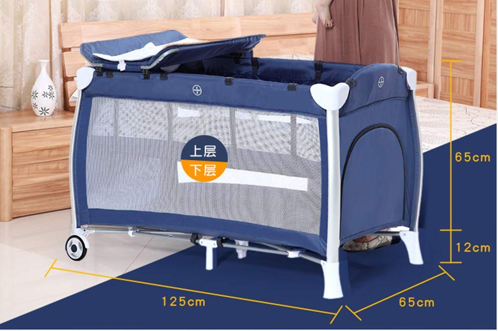 KLI Portable Folding Newborn Baby Crib Crib Baby Toddler Cotton Music Game Kindergarten Travel Bed Baby Supplies, 125X65x77cm KLI 1.Shipping list: crib, coir mattress, shelf, second floor bed, diaper table, folding mattress, rotating music stand, arched toy frame, travel storage bag arched mosquito net, diaper pad . size: 125x65x77cm. 2. Application age: 0-4 years old. 3. Weight duration: 50 kg. 2