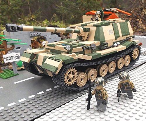 Modbrix 2496 - ☠ Bausteine Panzer Elefant Panzerjäger Totenkopf Division inkl. Custom Elite Wehrmacht Soldaten aus Lego© Teilen ☠ thumbnail