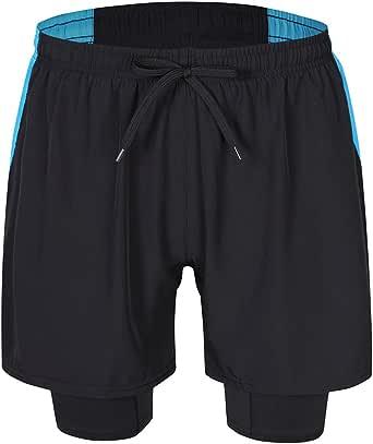 MISSKY Men's 2-in-1 Training Running Gym Wear Pants Shorts