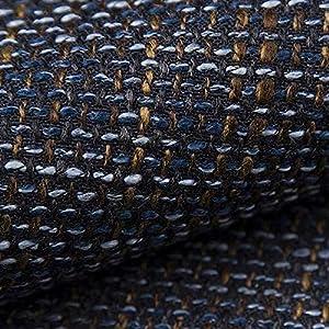 NOVELY® LANZ Premium Möbelstoff | Schwerer Webcharakter | grob gewebter Polsterstoff | Meterware | Struktur-Stoff | 15 Farben (14 Navy Braun)