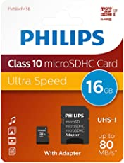 Philips Micro SD cards FM16MP45B/10 - Memory Cards (16 GB, MicroSD, Class 10, Black)