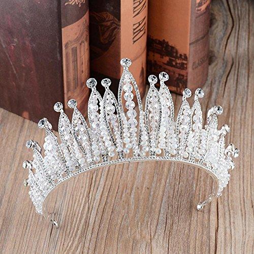 Haixng Barock Retro Hochzeit Krone Braut Tiara Boutique Kopfschmuck (Silber)