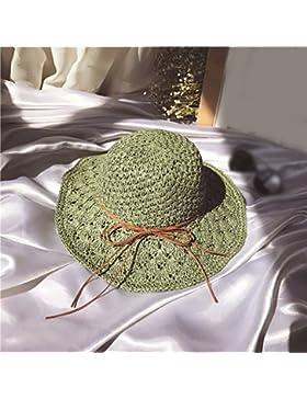 LVLIDAN Sombrero para el sol del verano Dama SolAnti-sol Beachstrawhat verde plegable