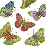 Entertaining-with-Caspari-Jeweled-Butterflies-Paper-Cocktail-Napkins,-Ivory,-Pack-of-20