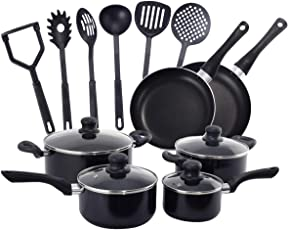 COSTWAY 16tlg. Kochset Pfannenset Topfset Kochgeschirr-Set Kochtopf Set Pfanne Küchenutensilien Kochbesteck Küchenhelfer
