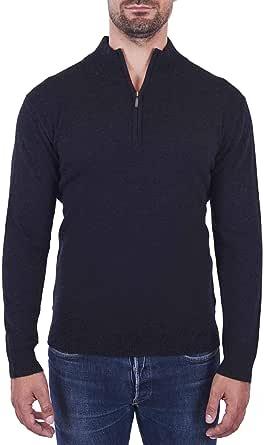 CASH-MERE.CH Pullover | Sweater | Maglione con Colletto con Cerniera da Uomo 100% Cachemire (S-XXL)