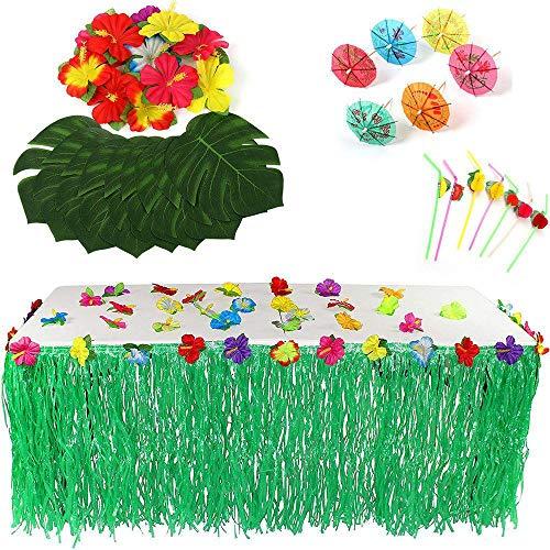 Womdee Hawaiian Party Supplies 109Pcs, 1 Pcs Tisch Rock mit Hibiskusblüten, 24 Pcs Faux Palm Leaves, 24 Pcs Hibiskusblüten, 30 Pcs Regenschirm, 30 Pcs Obst Stroh für Luau, Moana Themed Party -