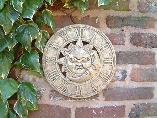 Outdoor Garten Wanduhr 30,5cm Sonne und Mond