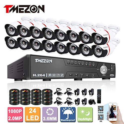 Buy TMEZON AHD 16CH 1080P Home Security DVR Video Surveillance System No HDD 16×2.0MP HD Weatherproof 80ft Night Vision Indoor/Outdoor AHD High Quality CCTV Camera,Support Remote Monitor By Smartphone on Line