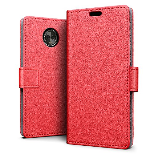 SLEO Motorola Moto E5 Plus Hülle, PU Leder Case Tasche Schutzhülle Flip Case Wallet im Bookstyle für Motorola Moto E5 Plus Cover - Rot