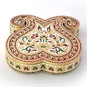 Little India Double Paisley Design Gold Meenakari Dryfruit Box (429, Gold)