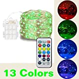 HAHOME Fairy String Lights, 16.4Ft 50 LEDs Battery Operated Lights Multi Color Changing String Lights with Remote Control for Christmas Wedding and Parties Decoration, Multi Colored