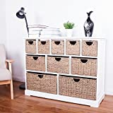 10 Drawer Baskets White Wide Functional Wooden Hyacinth and Seagrass Baskets Cabinet Storage Unit FULLY ASSEMBLED Quality Chest of drawers