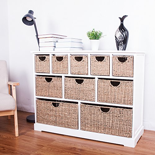 LIFE CARVER Large Storage Chest Of Drawers With Baskets Hallway Bathroom Basket  Storage Unit Cabinet With Solid Sides And Back (1)
