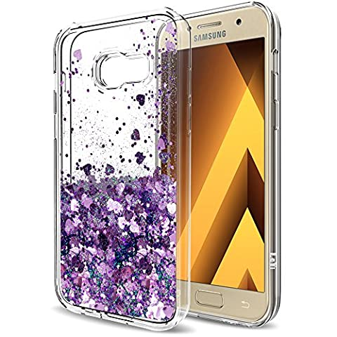 A5 2017 Case,Galaxy A5 2017 Liquid Case with HD Screen Protector for Girls Women,LeYi Cute Shiny Glitter Moving Quicksand Clear TPU Protective Phone Case for Samsung Galaxy A5 2017 ZX