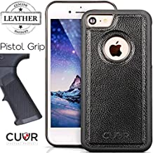 iPhone 7 Case Cover in Real Genuine Leather by Cuvr®. Luxury Cases With The Best Grip For Apple iPhone 7 (Black)