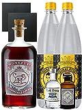 Gin-Set Monkey 47 SLOE GIN Schwarzwald Dry Gin 0,5 Liter + The Duke München Dry Gin 5 cl + Monkey 47 Schwarzwald Dry Gin 5 cl MINIATUR + 2 x Thomas Henry Tonic Water 1,0 Liter + 2 Schieferuntersetzer quadratisch 9,5 cm