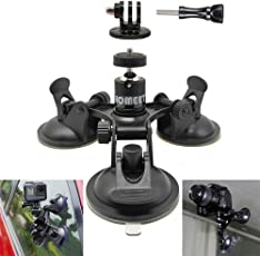 Kamera Saugnapfhalterung, Homeet GoPro Stativ Saugnapf Auto Spiegelreflexkamera Saugnapf 360 Grad Drehende Kugelkopf für GoPro Hero 6 5 4 3+ 3 Session/ Garmin Virb/ Yi 4K/ Pentax Olympus Panasonics
