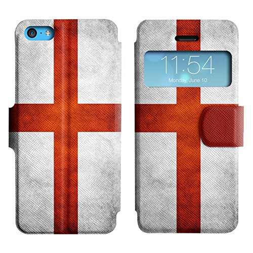Graphic4You Vintage Uralt Flagge Von Österreich Österreichisch Design Leder Schützende Display-Klappe Brieftasche Hülle Case Tasche Schutzhülle für Apple iPhone 5C English Flag of England