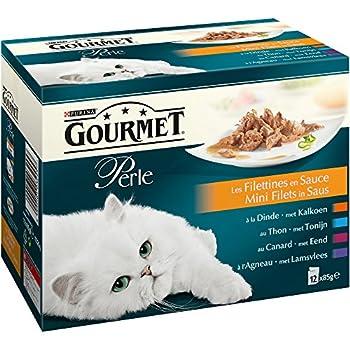 Gourmet Perle Les Filettines en sauce Repas pour chat adulte Dinde, Canard, Agneau, Thon 12 x 85 g - Lot de 6 (72 sachets fraicheurs)