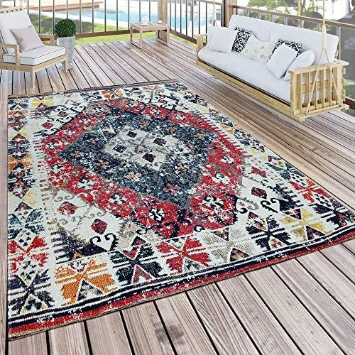 Paco Home In- & Outdoor Teppich Modern Orient Muster Terrassen Teppich Wetterfest Bunt, Grösse:200x280 cm