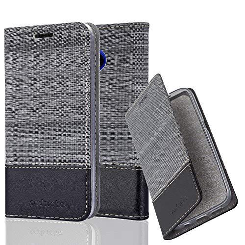 Cadorabo Hülle für HTC U11 Life - Hülle in GRAU SCHWARZ – Handyhülle mit Standfunktion und Kartenfach im Stoff Design - Case Cover Schutzhülle Etui Tasche Book