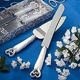 Tortenheber und Messer-Set  'Perlmuttherzen'