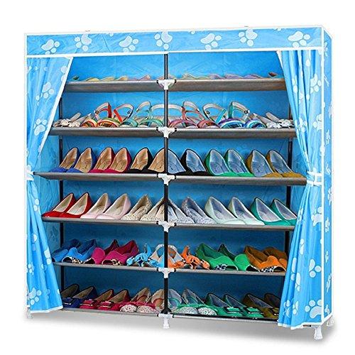 Rack di Stoccaggio per Scarpe, Blueidea® Portable 7-Tier Scarpiera Portascarpe Armadietto Immagazzinaggio Organizer Mensola del Pattino