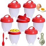 Cuociuova, 7 PCS Cuoci Uova Sode Senza Guscio, Silicone Cuociuova Bolli Uovo Fornello in Camicia Antiaderente Casa e…
