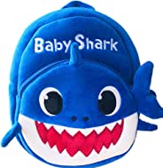 Baby Shark School Bag, Kids Cute Plush School Backpack (Blue)