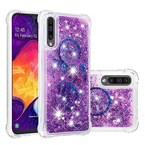 Abuenora Funda para Samsung Galaxy A50, Carcasa Brillos Purpurina Lentejuelas Líquida Transparente Silicona Antigolpes 360 Flexible Case con Dibujo Atrapasueños