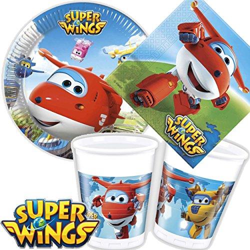 Kit de fête «Super Wings» 36pièces comprenant assiettes, gobelets, serviettes et décorations, pour anniversaire d'enfant ou fête à thème