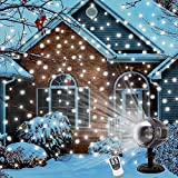 Snow Falling Light Halloween Decorations Indoor Outdoor Christmas Light Projector Snowfall Led Lights with Remote Control Rotating Waterproof Landscape Snowflake Decorative lighting for Party Weedding