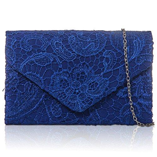 Zarla pochette con motivo floreale in pizzo, Borsa da donna, per abiti da sera, abiti da sera Blu (Blu Royal)