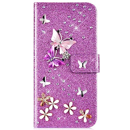 IKASEFU Schutzhülle für Samsung Galaxy S10e (Glitzer, glänzender Schmetterling, Strasssteine, Blumen-Design, aus PU-Kunstleder, mit Kartenfächern, Magnetverschluss, Standfunktion) violett