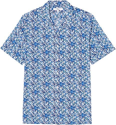 FIND Camicia Stampa Tropicale a Manica Corta Regular Fit Uomo Blu (Blue Botanical)