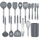 Ustensiles de Cuisine, 15 pièces Set d'ustensiles de Cuisine en Silicone, Antiadhésive Anti-Rayures et Résistante à la Chaleu