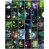 30pcs Tarjetas de felicitación hermosas luminosas - Bosque